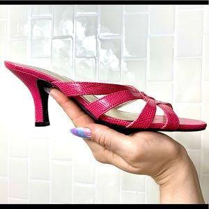 NWOT Hot pink braided kitten heel Sz 7W